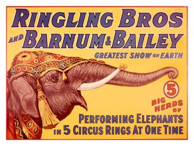 Barnum & Bailey Circus Elephant Vintage Sign