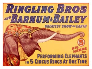 Barnum & Bailey Circus Elephant Vintage Sign
