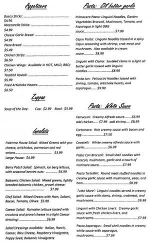 Cafe Palermo Menu Page 1