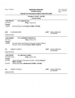 Jan. 10 Franklin County Associate Circuit Court Division VII Docket