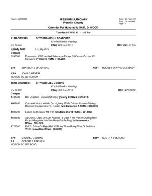 Feb. 26 Franklin County Circuit Court Division I Docket (part 4)
