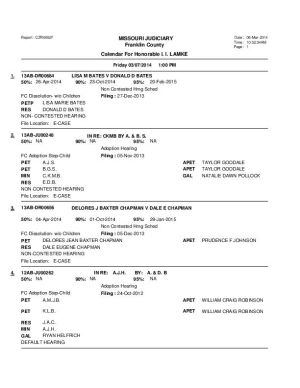 March 7 Franklin County Circuit Court Division II Docket