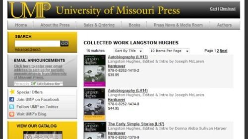 University of Missouri Press homepage
