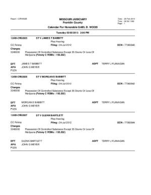 March 5 Franklin County Circuit Court Division I Docket