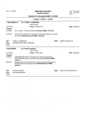 Nov. 13 Franklin County Circuit Court Division 1 (part 5) Docket