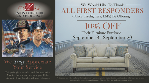 Union Furniture & Flooring Thanks All First Responders With 10% Off!