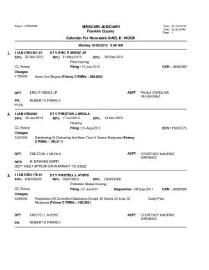 Oct. 28 Franklin County Circuit Court Division 1 Docket (Part 1)