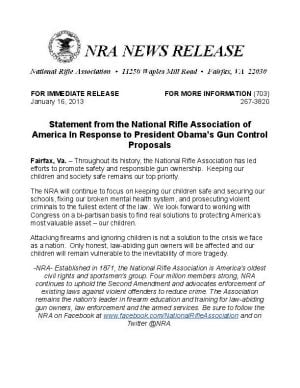 NRA Press Release Response to Obama