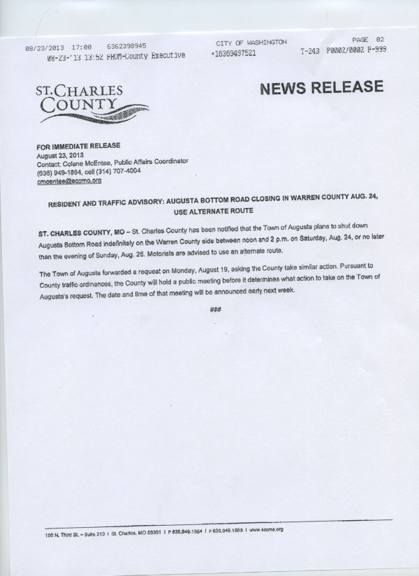 Augusta Bottom Road Press Release