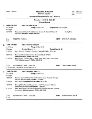 Nov. 15 Franklin County Associate Circuit Court Division VI Docket