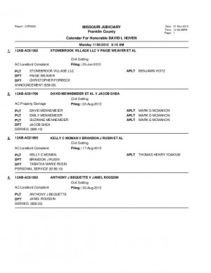 Nov. 2 Franklin County Assocaite Circuit Court Division VI Docket
