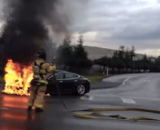 Tesla Model S caught fire