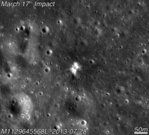 <p>Space rocks are constantly bombarding the surface of the Moon. NASA has been keeping a close eye on these impacts since 2005, using telescopes to watch for the telltale flashes that come from the explosions they cause. On March 17th, 2013, NASA witnessed the biggest flash yet. Not only was it captured on camera—it led another spacecraft to find a brand new crater. Learn all about it in this month's column!</p>
