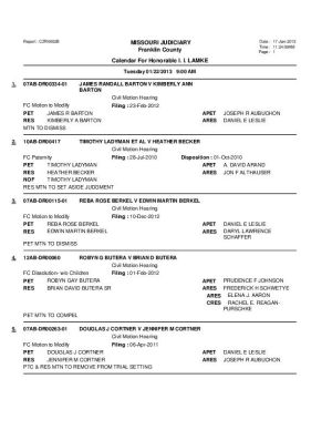 Jan. 22 Franklin County Circuit Court Division II Motion Docket
