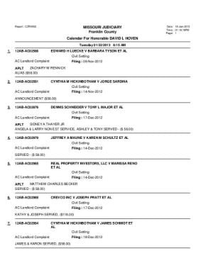 Jan. 22 Franklin county Associate Circuit Court Division VI Docket