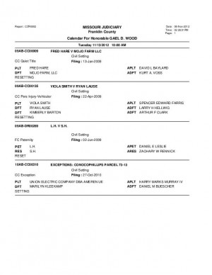 Nov. 13 Franklin County Circuit Court Division 1 (part 2) Docket