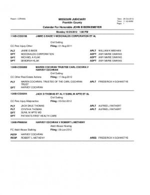 Oct. 29 Judge Berkemyer Court Docket (Franklin County Associate Circuit Court) Docket