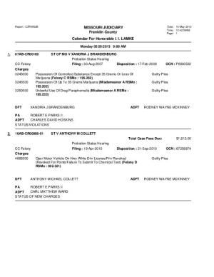 May 20 Franklin County Circuit Court Dvision II Docket