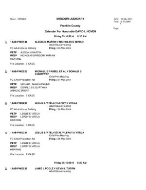 Mat 16 Franklin County Adult Abuse Docket