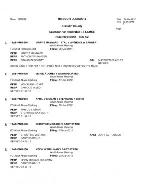Franklin County Division II Adult Abuse Court Dockets for May 4