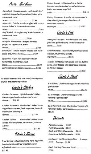Cafe Palermo Menu Page 2