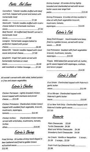 Cafe Palermo Menu Page 2