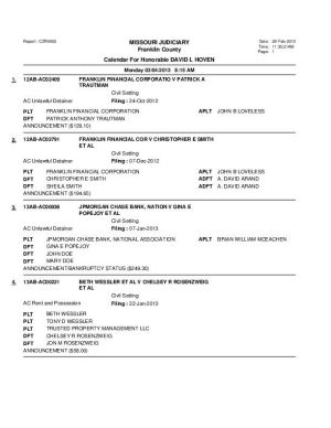 March 4 Franklin County Associate Circuit Court Division VI Docket