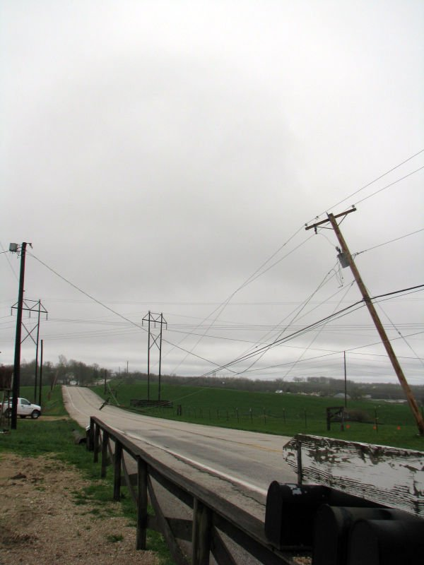Old Highway 100 Utility Poles Down