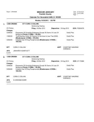 Oct. 26 Franklin County Circuit Court Docket Dvision 1 (part 2)