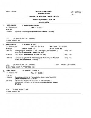 Dec. 19 Franklin County Associate Circuit Court Division VI Docket