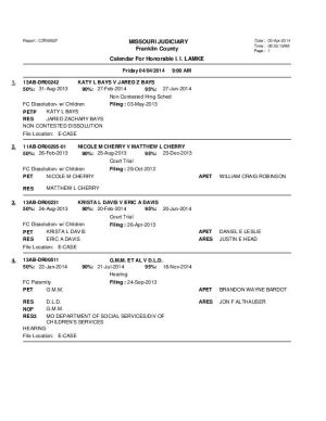 April 4 Franklin County Circuit Court Division II Bench Docket