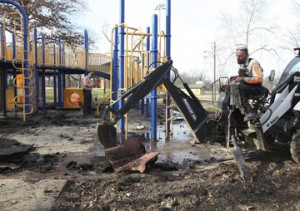 City Crews Remove Playground Surface