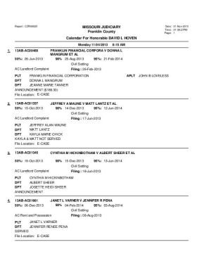 Nov. 4 Franklin County Associate Circuit Court Docket Division VI