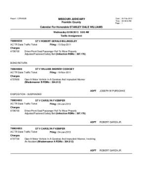 Feb. 6 Franklin County Associate Circuit Court Division VII fDocket