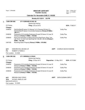 May 19 Franklin County Circuit Court Division I Docket (Part 3)