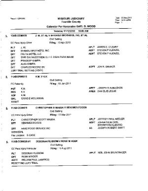 Nov. 12 Franklin County Circuit Court Dvision 1 Docket (Part 2)