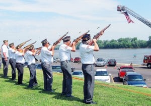 Rifle Salute by Legion, VFW Members