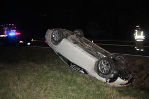 Car Overturns on Highway 47