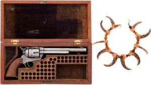 Buffalo Bill's Colt Revolver & Bear Claw Necklace