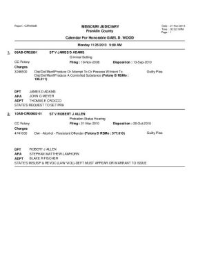 Nov. 25 Franklin County Circuit Court Division I Docket (Part 1)