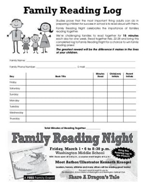 2013 Family Reading Log