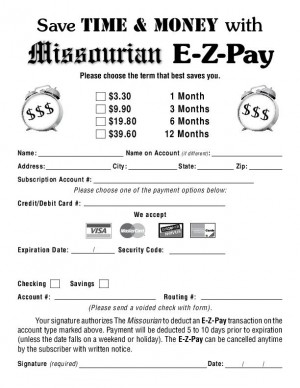 Missourian E-Z-Pay Form