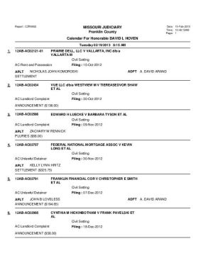 Feb. 19 Franklin County Associate Circuit Court Diviision VI Docket