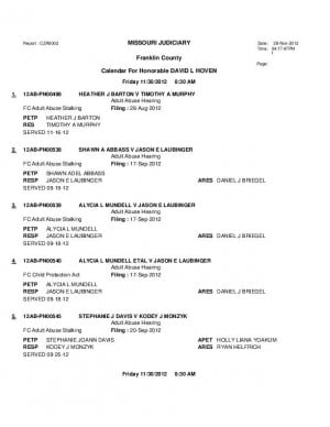 Nov. 30 Franklin County Associate Circuit Court Division VI Docket