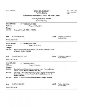 Nov. 8 Franklin County Associate Circuit Court Division VII DocketDocket