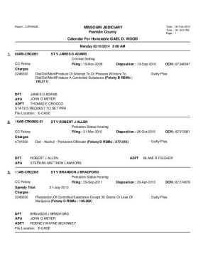 Feb. 10 Franklin County Circuit Court Division I (Part 1) Docket