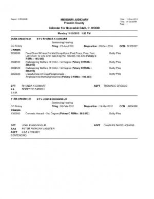 Nov. 19 Franklin County Circuit Court Division 1 Docket (Part 2)