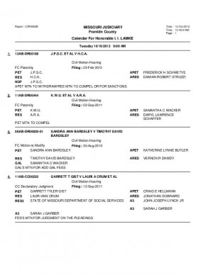 Oct. 16 Franklin County Circuit Court Division II Docket