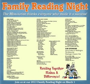 Thank You Ad for Family Reading Night 2012
