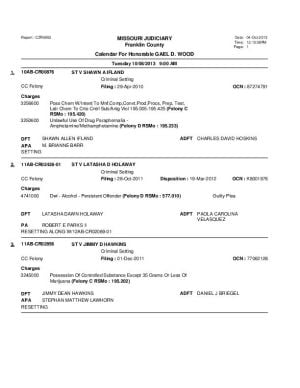 Oct. 8 Franklin County Circuit Court Division 1 (Part 1) Docket